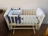 Mothercare white gliding crib