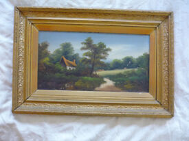 J Elliott Artist Victorian Oil Painting Signed #2of2 Ornate Gilt Gesso Frame 25""