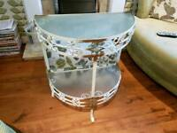 Vintage Retro Half Moon Iron Side Table Telephone Table Console Plant Stand Bedside Tables