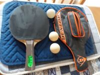 Dunlop, Table tennis bat and case. plus two balls