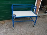 Commercial Grade Heavy Duty Metal Workbench on Casters with Mini Vice