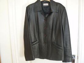 LADIES REAL SOFT BLACK LEATHER JACKET SIZE 14 - GLAN MORI COLLECTION