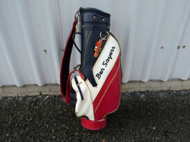 Ben Sayers GOLF BAG Leather Style Vintage Retro Red White Blue Gold 8 inch 6 way Trolley
