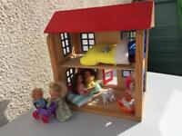 Wooden Dolls house with Evi Dolls & furniture as pictured