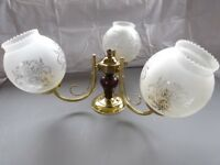 Ceiling Light Brass Coloured Metal 3 Glass Shades