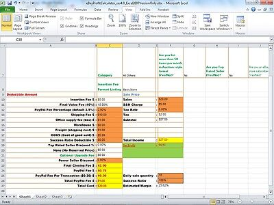 eBay PayPal Fee Profit Calculator Selling Tool Excel