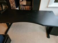 Large Black STOIC Desk with side cabinet (HALBERD)