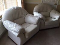 Cream leather sofa , 2 chairs and footstool