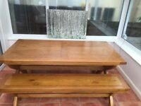 Large dining table + 2 benches + 2 chairs for sale