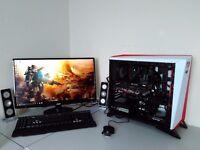 """NEW GAMING 4K PC BUNDLE - 27"""" QHD - VR - OCTA CORE 8 X 4,8 GHZ - 16 GB RAM - GPU 10 GB - SSD - MSI"""