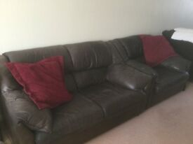 2seater tan leather sofa and matching chair and footstool,