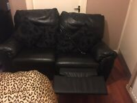 Recliner Leather Sofa (Black)