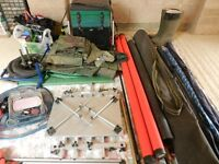Course fishing rods and all related equipment for sale in a job lot