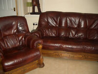 TWO ROCHELLE LEATHER 3 SEATER SOFAS AND ONE MATCHING CHAIR (REASONABLE OFFERS CONSIDERED)