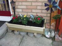 WOODEN OBLONG PLANTER [NEW ]