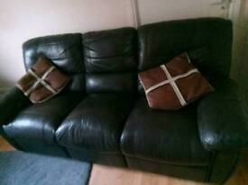 Chocolate brown sofa 3 + 2 and matching pouffe
