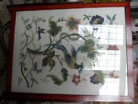 Vintage embroidered fire screen