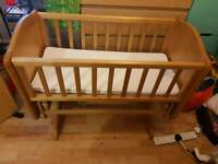 Wooden rocking crib