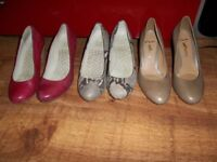 Clarks Heels x 3 - Different sizes (6.5 and 7) Left foot half a size bigger