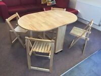 Butterfly folding dining table with 4 chairs