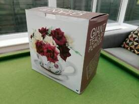New and boxed giant tea cup garden planter - gift idea