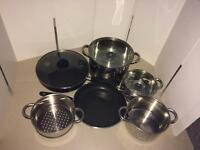 Job lot of 6 pans and 3 lids
