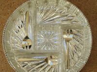Hors D'Oevures Dish, silver plated tray, 5 cut glass dishes + 3 silver plated spoons