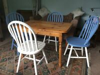 Pine Kitchen Table & Four Blue & White Pine IKEA Chairs Table H29in/74cm W26in/66cm L41in/104cm