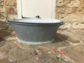 tin bath - enamel light grey - old
