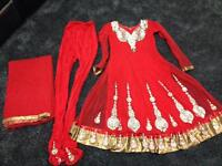 Red anarkali party suit