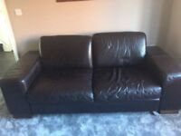 Furniture Village Dark Brown Leather Sofas - 1 x 2, & 1 x 3 seater, & storage footstool