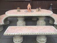 Terracotta Concrete garden table and benches