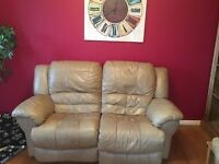 3 seater and 2 seater beige leather electric recliner sofas
