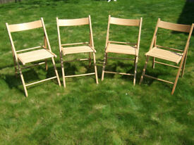 Four wooden folding chairs ideal for bbq's & parties