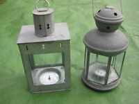 Two Decorative Metal Lanterns with Glass Panels for £5.00 each or 2 for £8.00