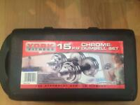 - York Fitness - 15kg chrome dumbell set