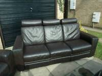 3 seater Brown leather sofa and arm chair