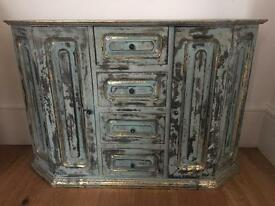 Solid Wood Distressed Pale Blue Vintage Style Drawer Unit