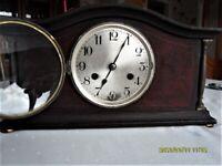 wooden case chiming mantel clock