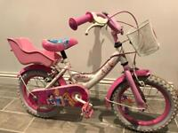"Girls 14"" child princess bike"