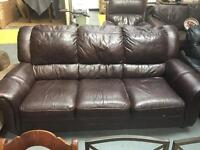 Brown 3 seater leather sofa (FREE DELIVERY WITHIN 10 MILE)