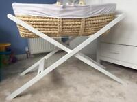 John Lewis Moses Basket, Mattress, Stand + Fitted Sheets