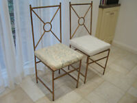 Two French metal chairs & seat pads £70