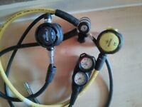Beuchat VX100 1st&2nd Stage - Regulator with Octo and Cressi depth and pressure gauge - £200 ono