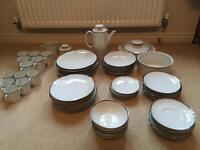 Thomas Germany Fine China 58 Piece Dinner Set - White with Silver Band