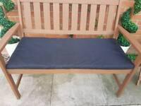 Black waterproof garden bench seat cushion pad