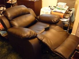 Brown leather electric rise and recline chair excellent condition