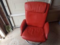 2 red leather swivel ikea chairs x a footstool