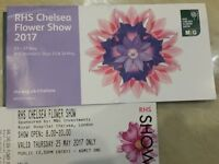 TWO AFTERNOON ENTRY TICKETS FOR RHS CHELSEA FLOWER SHOW THURSDAY 25TH MAY 2017 £75 Each