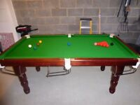 Snooker/Pool 7 ft Table, slate bed with both set of balls & cues and score board & cover